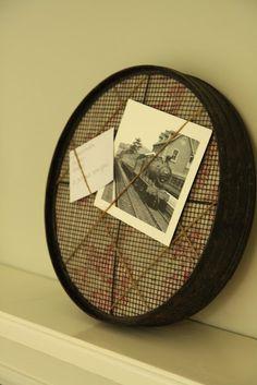 Vintage Sieve Memo Board..it simple and works ..cute :)