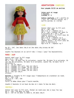 Aperçu du fichier ADAPTATION CHERIES.pdf Crochet Doll Clothes, Knitted Dolls, Doll Clothes Patterns, Doll Patterns, Clothing Patterns, Baby Knitting Patterns, Crochet Dolls Free Patterns, Knit Or Crochet, Crochet Toys
