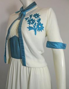 1960s pleated white nylon dress and sweater jacket with turquoise silk accents and rhinestones, DCV