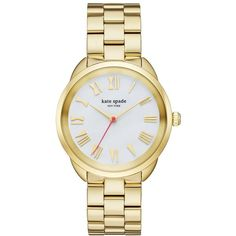 Kate Spade Gold Crosstown Watch (990 RON) ❤ liked on Polyvore featuring jewelry, watches, accessories, gold wrist watch, gold jewellery, yellow gold watches, gold wristwatches and gold watches