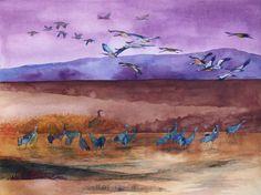 Ein Abend bei den Kranichen am Rederangsee | Schlafenszeit (c) ein Kranich Aquarell von Frank Koebsch