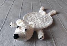 Polar bear coaster - Podstawka miś polarny #amigurumi #crochet #handmade
