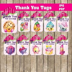 Shopkins Thank You Tags, Printable DIY, Birthday Decoration, Supplies
