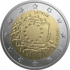 The coin is a dedication to the 30th anniversary of the adoption of the European flag as an official emblem of the European Union.