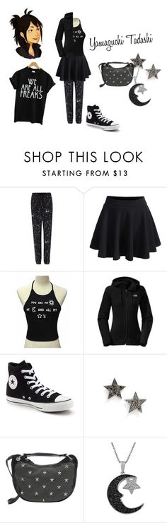 """""""Fem!Yamaguchi Tadashi"""" by somuch-raine ❤ liked on Polyvore featuring Markus Lupfer, The North Face, Converse, Dana Rebecca Designs, Jimmy Choo and Jewel Exclusive"""
