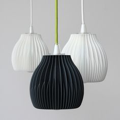 Designer Martin Zampach has created a series of lampshades with fins 3D printed of environmentally friendly corn-starch based PLA material.