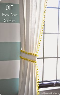 DIY Home Decor | IKEA Hack Pom Pom Trim Curtains {Pottery Barn Kids Knock Off} ~ All you need is a hot glue gun!