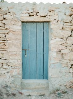 Rustic blue door in stone walled building Ibiza Formentera, Madame C, Destinations, Around The World In 80 Days, Some Beautiful Pictures, Beach Shack, Destination Voyage, Mediterranean Style, Spain Travel