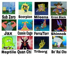 Mortal Kombat w/ Spongebob - mortal kombat - Game's Mortal Kombat Memes, Mortal Kombat 3, Spongebob, Kung Jin, Tomb Raider Cosplay, Lets Play A Game, Mileena, Silver The Hedgehog, Otaku