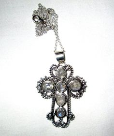 NECKLACE  MOONSTONE  ORNATE  Cross    925  by MOONCHILD111 on Etsy https://www.etsy.com/shop/MOONCHILD111