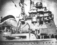 Starboard quadruple torpedo mount on IJN heavy cruiser, Takao.  Japanese torpedoes were very much feared and respected by all allied navies.