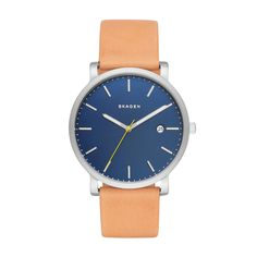 The Hagenwatch by Danish brand Skagen features a 40mmstainless steel case that holds a dark blue dial.   It is paired with a light tan leather strap which makes an unlikely yet smart-looking match.