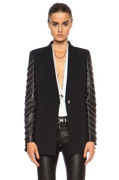 VERSACE One Button Blazer with Embellished Leather Sleeves in Black | FWRD [1]