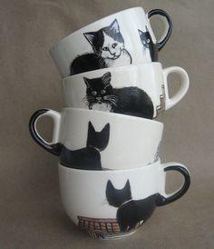 Amsterdam cats   Big Handpainted Mug  ready to by houseofharriet, $65.00