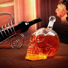 "Proper ""venom"" must age in a proper glass bottle, right? Made of thick glass. This bottle screams attitude wherever it sits, for sure! Drinkware, Barware, Decanter, Glass Bottles, Light Bulb, Venom, Attitude, Age, Presents"