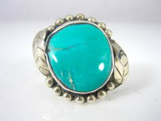 Vintage Guadalajara Mexico 925 Sterling Silver Turquoise Cabochon Ring Size 9.5 #Mexico