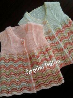 Easy Baby Vest Making, Easy Baby Vest Making, Easy Baby Vest - fatma Crochet For Kids, Easy Crochet, Crochet Baby, Knit Crochet, Baby Knitting Patterns, Baby Cardigan Knitting Pattern, Knit Baby Sweaters, Kind Mode, Baby Dress