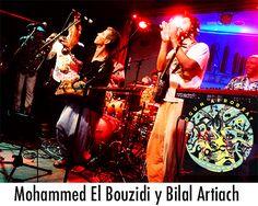 Mohammed El Bouzidi y Bilal Artiach invitados en el concierto de Ogun Afrobeat en Madrid.
