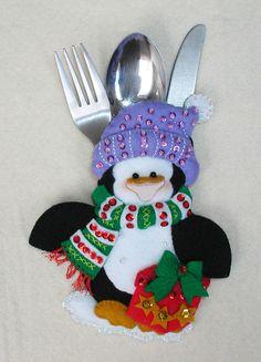 Details about Bucilla Snowman & Penguins ~ Felt Christmas Silverware Holder Kit 6 Pces - Her Crochet Handmade Christmas Decorations, Felt Christmas Ornaments, Christmas Stockings, Holiday Decor, Christmas Humor, Christmas Holidays, Felt Crafts, Christmas Crafts, Fleece Crafts