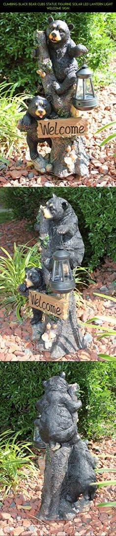 Climbing Black Bear Cubs Statue Figurine Solar LED Lantern Light Welcome Sign #parts #drone #camera #tech #gadgets #statues #shopping #plans #decor #products #racing #kit #outdoor #fpv #technology