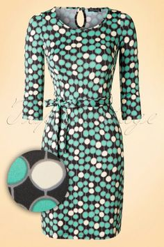 King Louie 60s Retro Tulip Dress Mint Green and Yellow