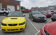 I love when random people squad up! Mine is the red new edge. #Mustang #usedcar #car #cars