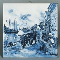 ♥ ~ ♥ Blue and White ♥ ~ ♥ Dutch Gift Delft Blue Tile Fisherman Scene Delft Tiles, Blue Tiles, Love Blue, Blue And White, Holland Netherlands, Hand Painted Walls, Blue Pottery, Tile Art, Wall Tile
