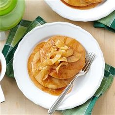 Gingerbread Pancakes with Apple Topping Recipe -I grew up eating these every Christmas morning. When the smell of spices reached our rooms, we knew the big day had arrived. —Dana Glasser, West Sand Lake, New York