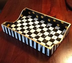 Hand Painted Whimsical Black & White Check Tray (Checkerboard)
