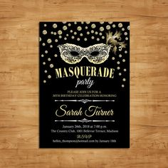 Masquerade Party Invitation / Mardi Gras by TheStarDustFactory