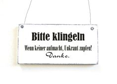 BITTE KLINGELN Türschild Holzschild Vintage Shabby von DöRPKIND auf www.doerpkind.de