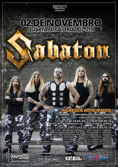 Sabaton: shows em POA e Curitiba via Abstratti Produtora