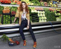Kristen Stewart goes grocery shopping in Chanel for Elle Magazine.