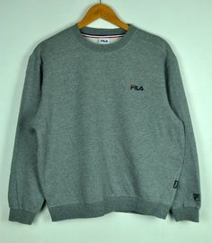 2cca6e55de84 Vintage 90s Fila Crewneck Sweatshirt With Small Embroidered Fila Logo ||  Fila || Grey Colour