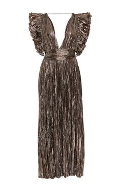 This **Ulla Johnson** donna French lamé dress features a plunging neckline with ruffled sleeve and a pleated skirt.