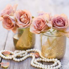For instant vintage appeal, spraypaint a Consol jar then blow glitter into the still-wet paint - sweet vases http://www.iwantthat.co.za