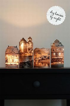 Tea light candles and old book prints. Cut out book images or print your own... then wrap around tea light and tape. That simple!: