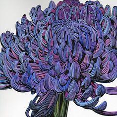 Irene MacKenzie ~ Chrysanthemum (linocut)
