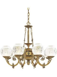 English Victorian 8 Light Chandelier with Etched Glass Shades... perfecto! (parlor room)