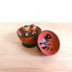 Antique miniture Unique kokeshi dolls  The couple in by raycious