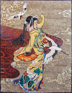 A glamorous Japanese lady dancing a Japanese dance.A mosaic mural showing her beautiful dress colorful surrounding and birds flying around her making it a livable piece of decorative art. Fully handmade from natural stones and hand cut tiles. Marble Mosaic, Mosaic Art, Mosaic Tiles, Mosaic Garden, Mosaic Glass, Mosaic Crafts, Mosaic Projects, Tile Murals, Tile Art