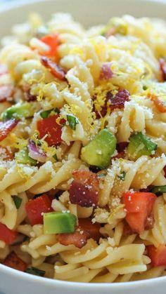 Bacon Avocado Pasta ~ An easy 20 minute pasta dish loaded with fresh avocado, crisp bacon and Parmesan goodness!