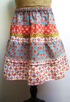silly old suitcase: DIY Tutorial; zomers stroken rokje... ruffled summer skirt...