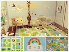 "Kids rugs SET 2 "" Hello everyone ! Today, I continue to sharing with you this new set of rugs for your Sims 4 KIDS*. I will had a new set of 4 rugs in a few days. Sims 4 Cc Furniture Living Rooms, Kids Furniture, The Sims, Sims Cc, Sims 4 Children, 4 Kids, Sims 4 Cc Kids Clothing, Sims 4 Toddler, Nursery Rugs"