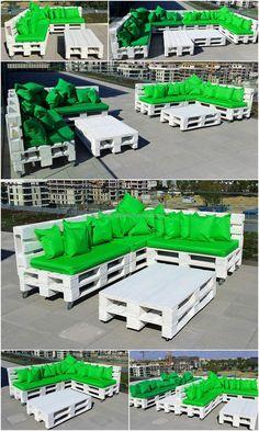 Idea de muebles al aire libre con paletas recicladas