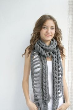 Gray Wool Scarf with Black Button Mothers Day gift by denizgunes Braided Scarf, Crochet Headband Pattern, Knit Picks, Long Scarf, Black Button, Crochet Scarves, Lace Knitting, How To Wear, Fashion Trends