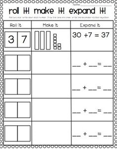 Place Value Freebie! Roll it! Make it! Expand it! This could be used to review/practice place value and expanded notation to tens and ones.