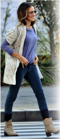 sarah jessica parker - long short sleeve sweater, long sleeve tee, skinnies, and boots