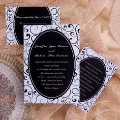 classic vintage black and white damask wedding invitation with free response card EWI071 as low as $0.94
