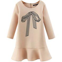 Chicnova Fashion Long Sleeve Bow Print Mini Dress ($25) ❤ liked on Polyvore featuring dresses, платья, beige dress, long sleeve dress, beige short dress, zip dress and beige long sleeve dress